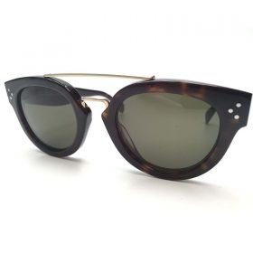 Celine CL 41043S Round Sunglasses Dark Havana with Gold Frame Green Lens (2)