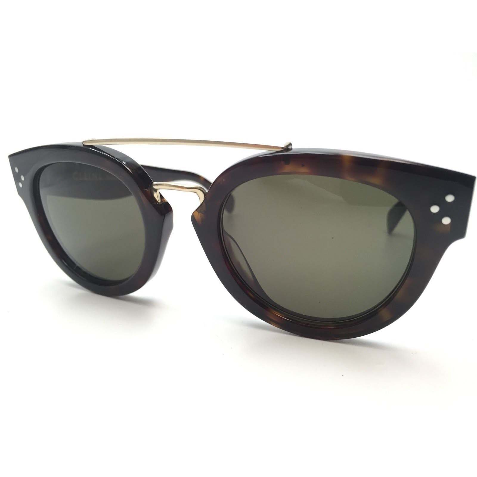 3a6b55becba Celine CL 41043 S Round Sunglasses Dark Havana with Gold Frame Green ...