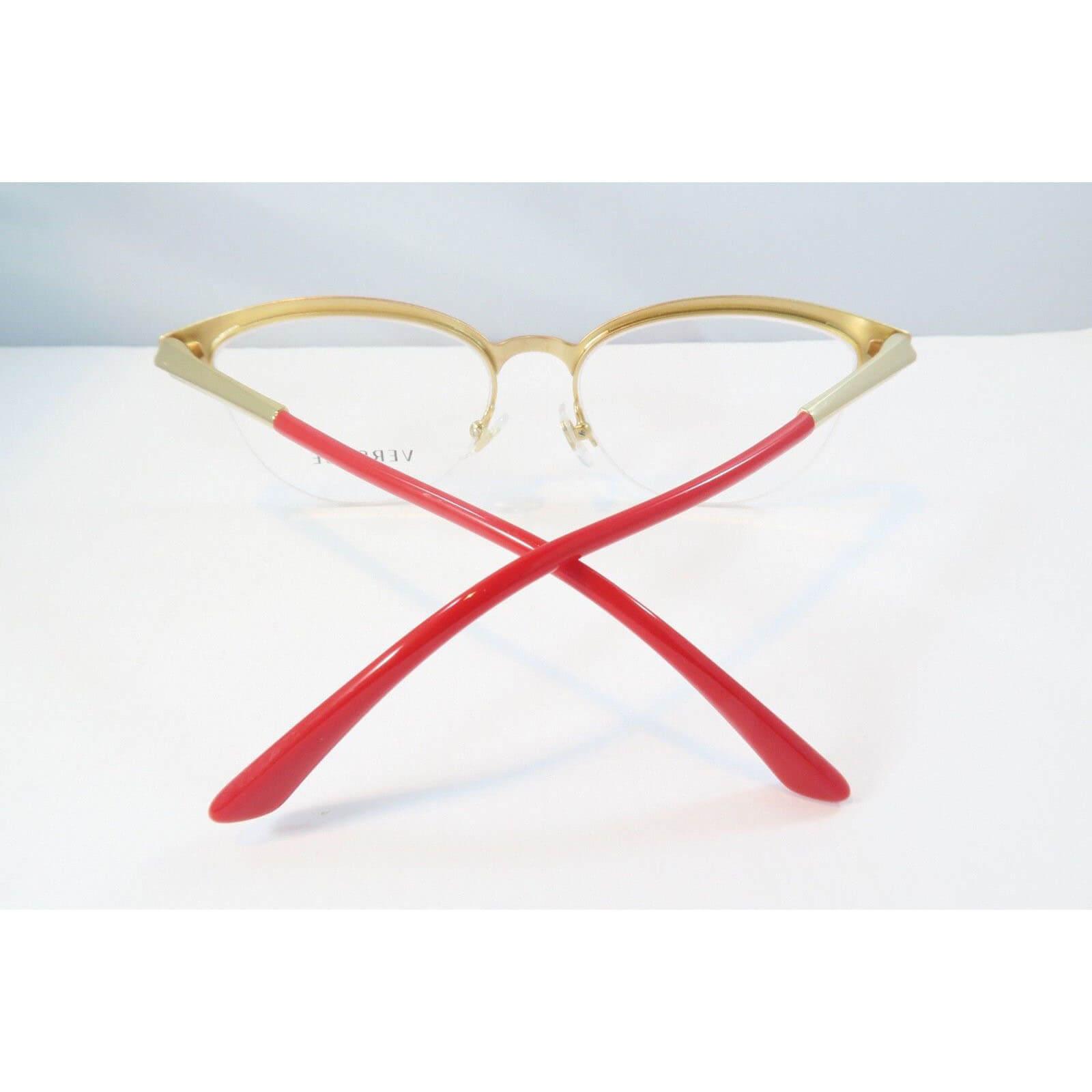 c665399c346b4 Versace MOD 1235 1376 Semi-Rimless Gold Red Eyeglasses