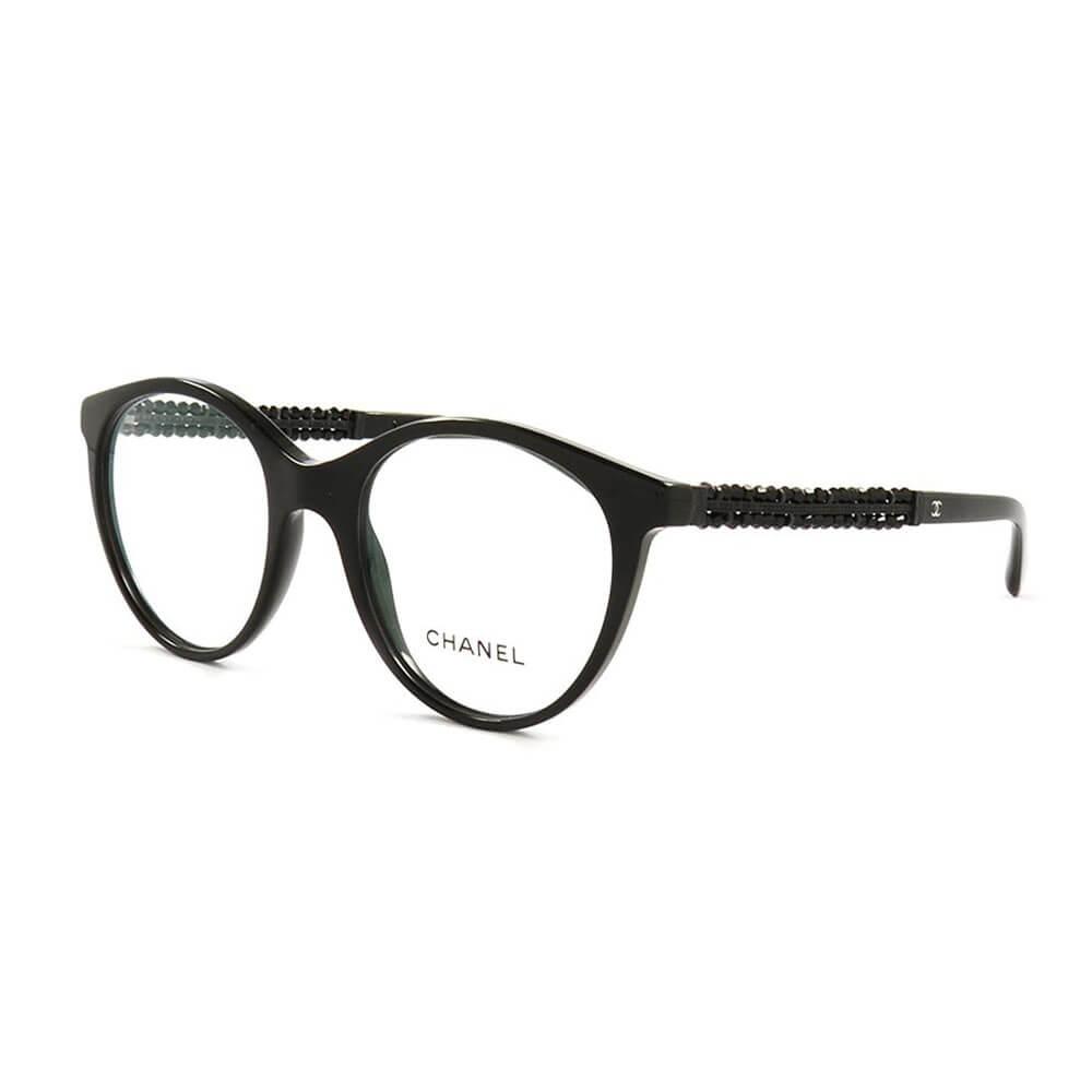 259c1cd67d CHANEL 3363-B c.501 Round Signature Black Beads Eyeglasses