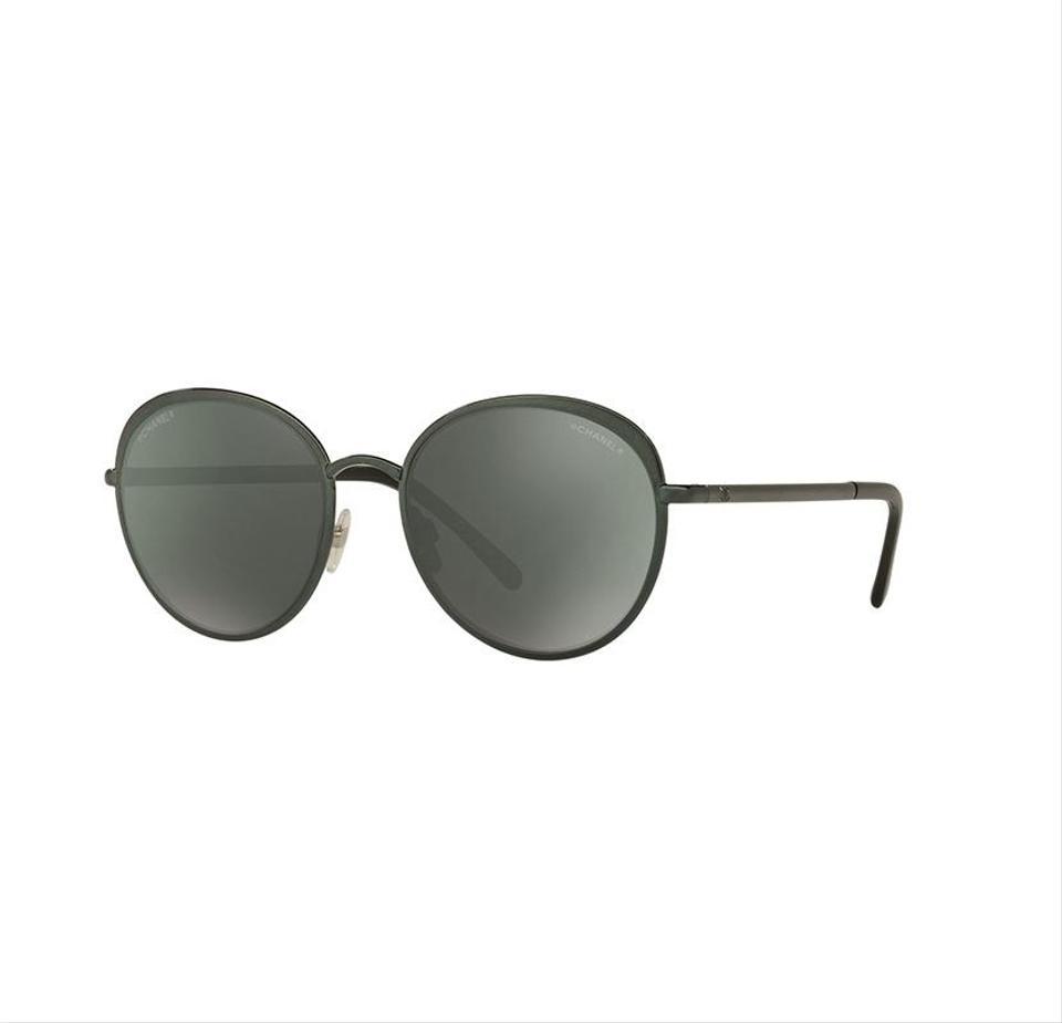 534d15ddd9 Chanel 4206 468/C0 Green / Dark Grey /w Green Mirror Round Sunglasses