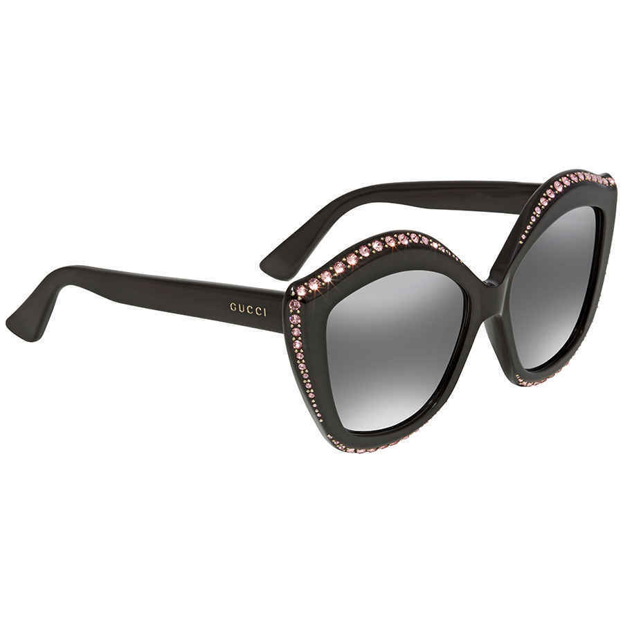 426dfaca407 Gucci GG0118S 002 Crystals Trim Black Cat Eye Ladies Sunglasses